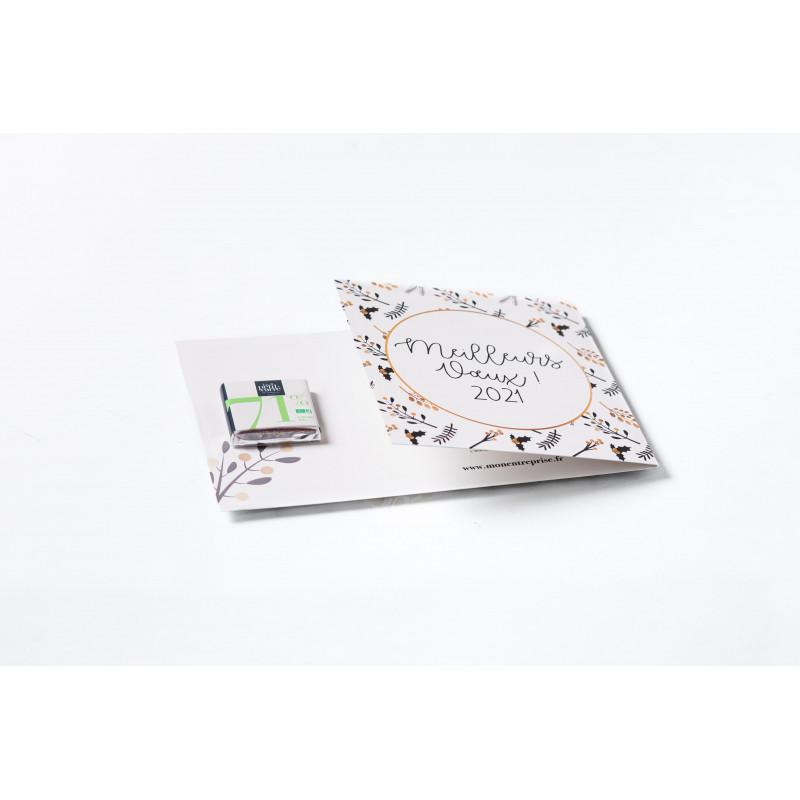 Carré de chocolat 4 gr avec carte personnalisable Le petit carré de chocolat - Carte avec carré 4g
